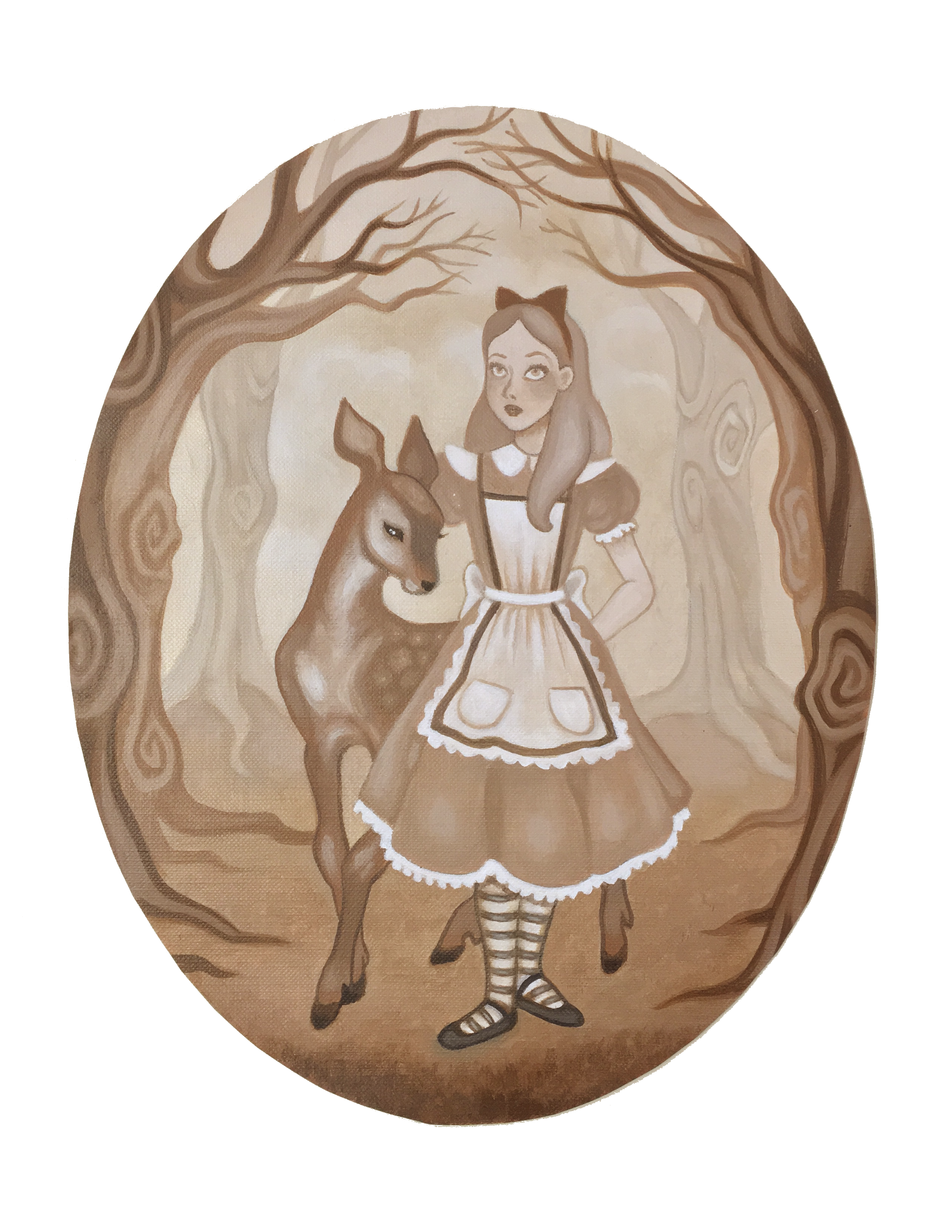 Alice And The Little Fawn Art Print