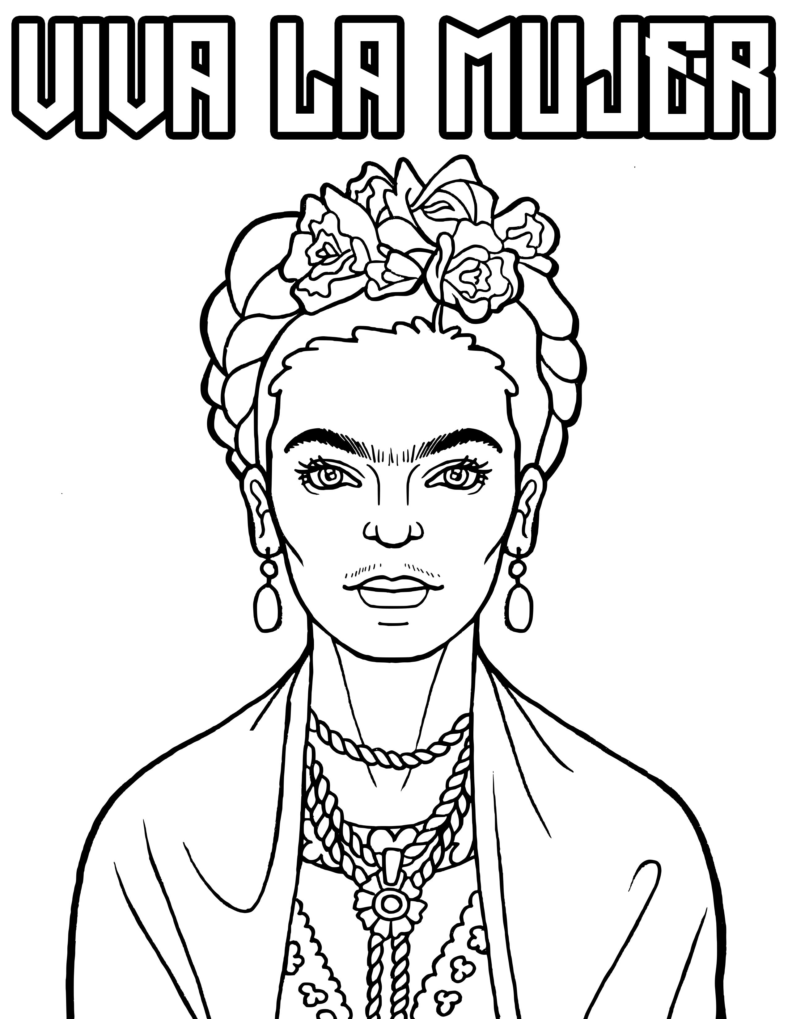 Viva La Mujer Downloadable Coloring Page