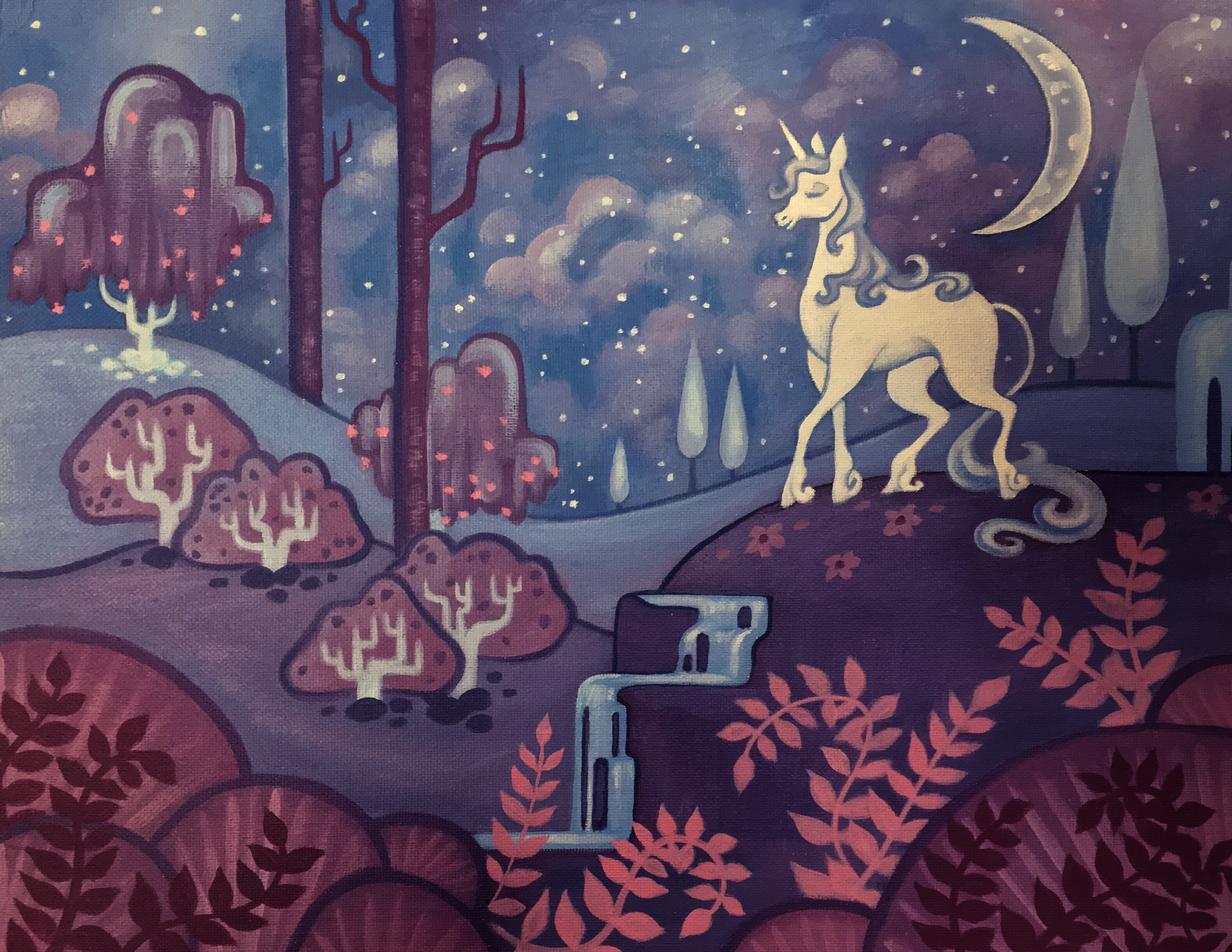 The Last Unicorn Fairytale Scene Art Print