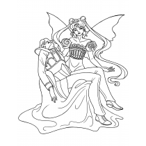 Princess Serenity And Endymion Pieta Coloring Page